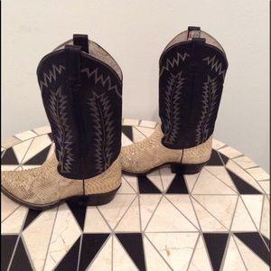 JR Boots - Vintage Shoes - JR Boots- Vintage Snakeskin / Leather Cowboy Boots